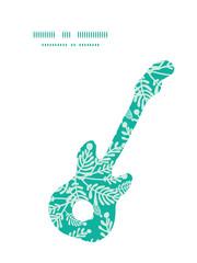 Vector emerald green plants guitar music silhouette pattern