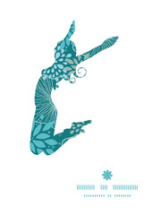 Vector blue and gray plants jumping girl silhouette pattern