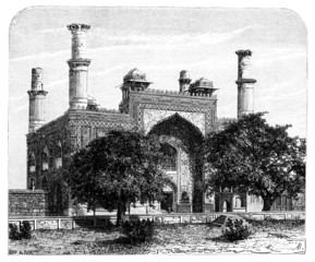 Wall Mural - Victorian engraving of Sikander Bagh, Lucknow, India