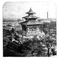 Victorian engraving of a view of Kathmandu, Nepal