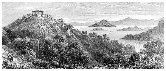 Wall Mural - Victorian engraving of a  Greek landscape