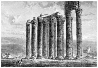 Wall Mural - Victorian engraving of the ruins of an ancient Greek temple