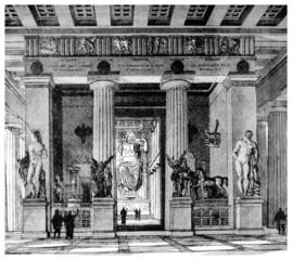 Victorian engraving of the Temple of Zeus, Olympia