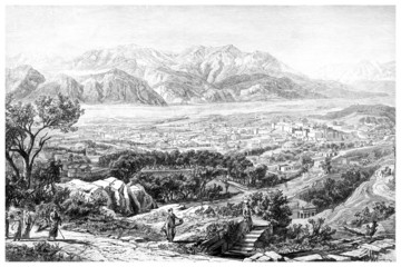 Victorian engraving of an ancient view of Sparta, Greece