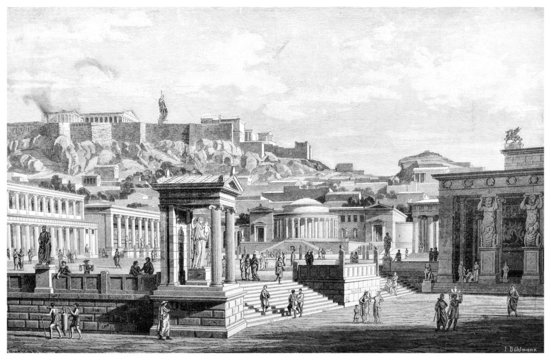Victorian engraving of an ancient view of the Agora at Athens