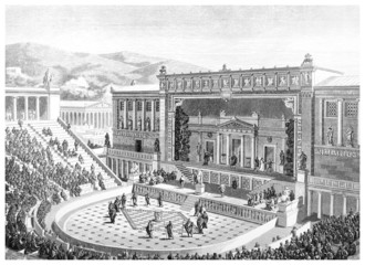 Victorian engraving of the Theatre of Dionysos at Athens