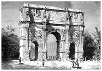 19th century engraving of the Arch of Constantine, Rome