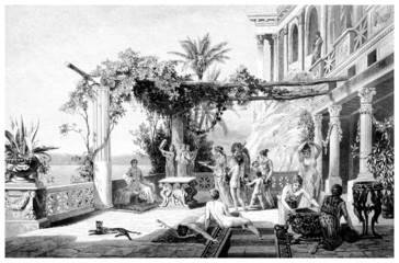 Wall Mural - Victorian engraving of the palace of the Roman Emperor Tiberius