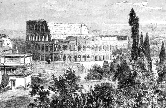 Victorian engraving of the Colosseum, Rome