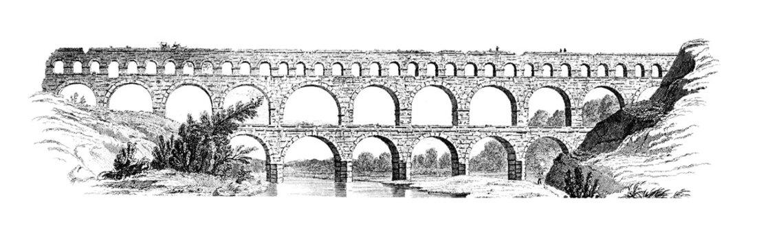 19th century engraving of the Pont du Gard, France
