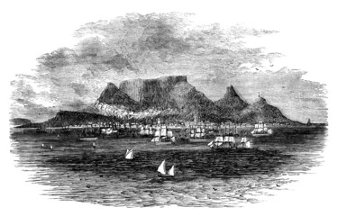 19th century engraving of Cape Town, South Africa