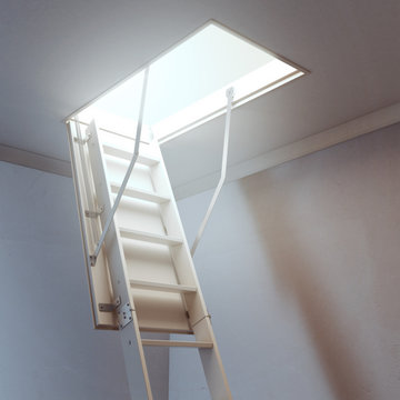 wooden ladder to the attic