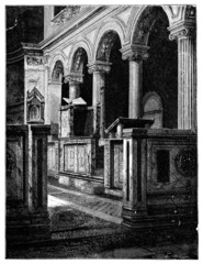 19th century engraving of the Basilica San Clemente, Rome, Italy