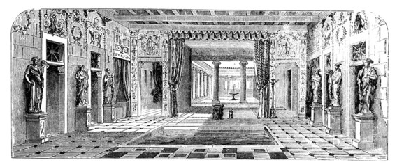 Wall Mural - 19th century engraving of a Roman Villa, Pompeii, Italy