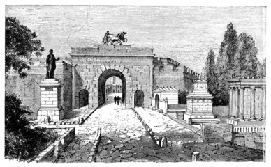 Wall Mural - 19th century engraving of Herculaneum Gate, Pompeii, Italy