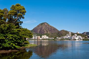 View or Mountains and Buildings of Rio de Janeiro around Lagoon