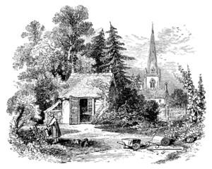 Wall Mural - 19th century engraving of a little country cottage, UK