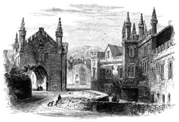 Wall Mural - 19th century engraving of Tavistock Abbey, Devon, UK