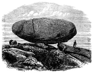 Wall Mural - 19th century engraving of an ancient dolmen, UK