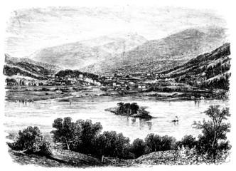 19th century engraving of Grasmere village, Lake District, UK