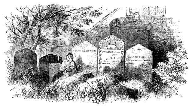 19th century engraving of grave of William Wordsworth, UK