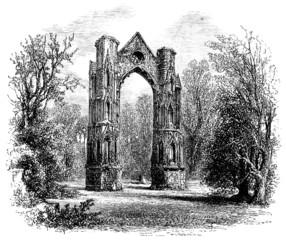 Wall Mural - 19th century engraving of Walsingham Priory, Norfolk, UK