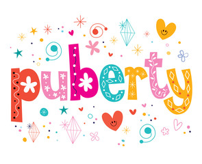 word puberty isolated on white decorative lettering type design