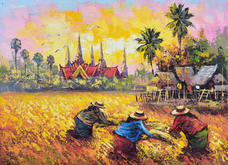 Original oil painting on canvas - farmer life
