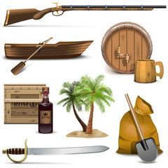 Vector Pirate Icons Set 4