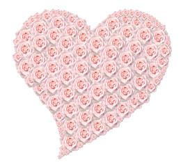 Heart of pink roses on white background