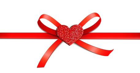 Rote Schleife mit Glitter-Herz - mittig
