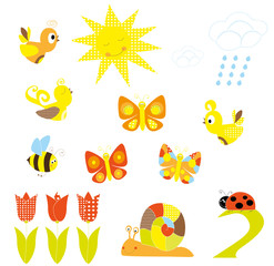 Spring nature / set of elements / vectors