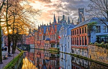 Foto op Canvas Brugge Canals of Bruges, Belgium