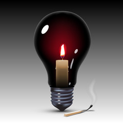 light bulb with candle