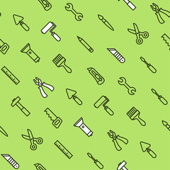 Flat house tools on green seamless pattern