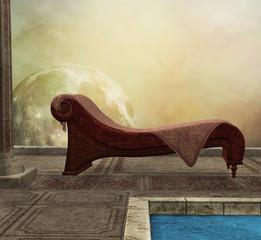 Background with deckchair
