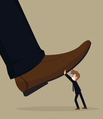 illustration of cartoon businessman carry stomping foot in oppre
