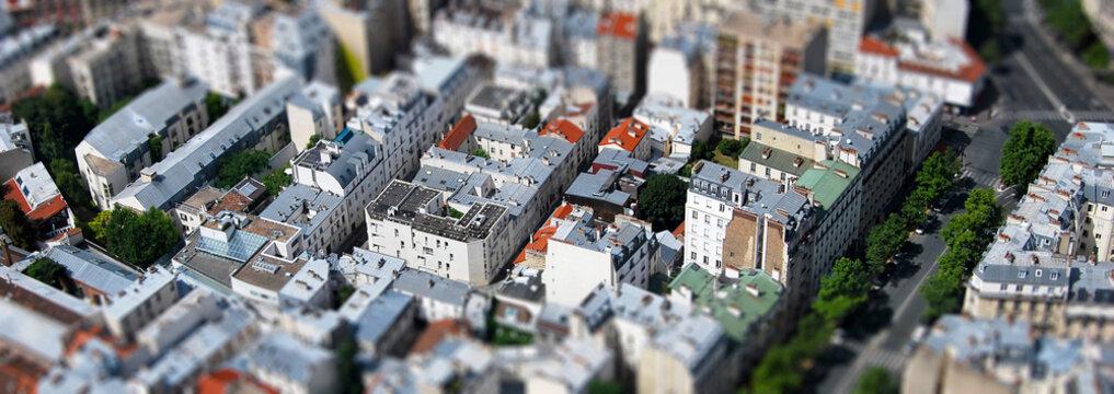 Paris vue aérienne tilt shift