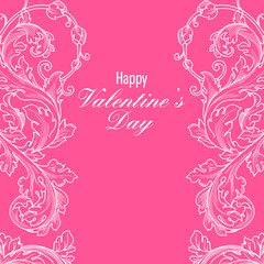 Valentines day greeting card with floral elements
