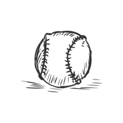 Vector Single Sketch Baseball Ball