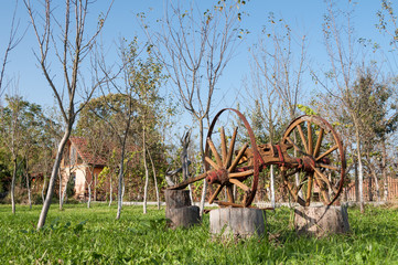old wooden plow in an orchard