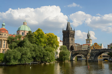 Charles bridge over Vltava river in Prague
