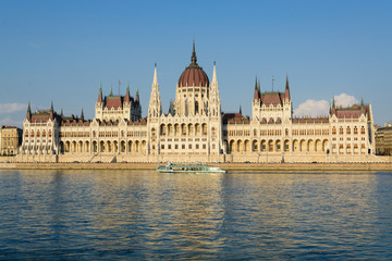 Hungarian parliament along Danube river in Budapest