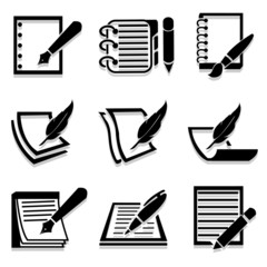 Writing icons set great for any use. Vector EPS10.