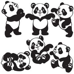 black and white set with cartoon panda