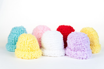 Mix color of newborn knitting wool on isolate white background