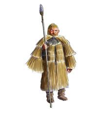 Prehistoric man with a straw rain coat