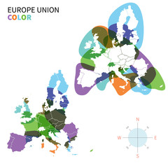 Abstract vector color Political map of Europe