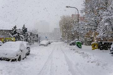 Snow calamity in Bratislava Slovakia