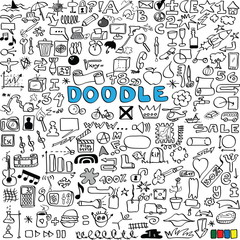 doodle big set of business, social, technology, school, icon